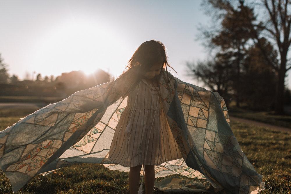 girl sunset quilt lifestyle documentary family Ashburn Loudoun northern Virginia  childhood Marti Austin Photography