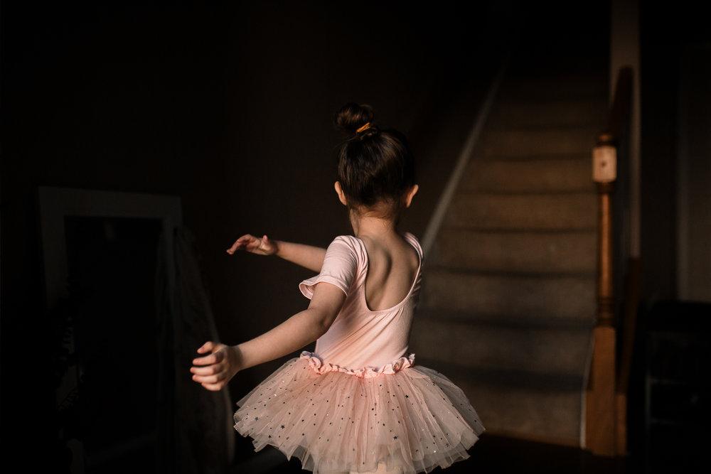 girl pink ballet tutu dance twirl spin lifestyle documentary family Ashburn Loudoun northern Virginia  childhood Marti Austin Photography