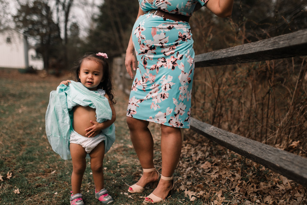 mother daughter toddler belly tummy maternity lifestyle documentary family Claude Moore Park Heritage Farm Museum Sterling Loudoun Virginia Marti Austin Photography