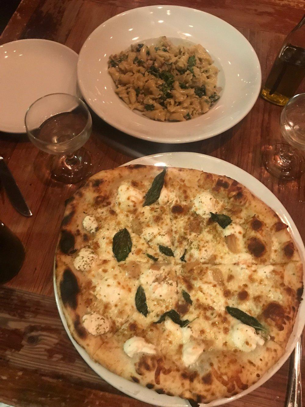 Campanelle pasta - white bolognese & rapini – and the white pizza - ricotta, mozzarella, basil, roasted garlic.
