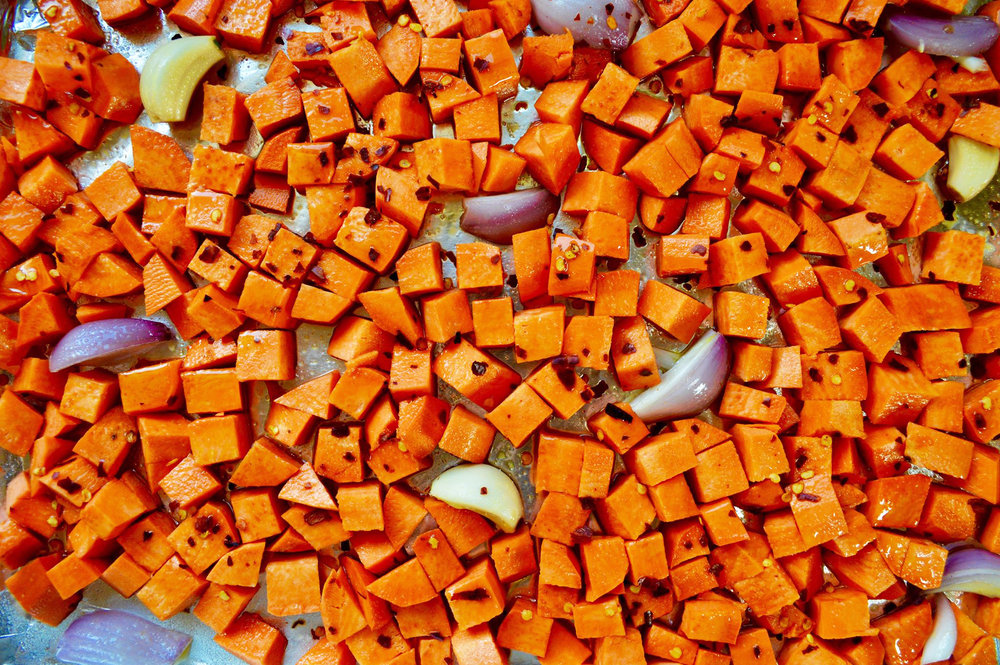 roasted yams with goat cheese