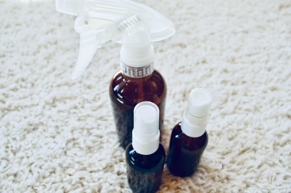 spring cleaning, amber bottles, natural, non toxic, essential oils