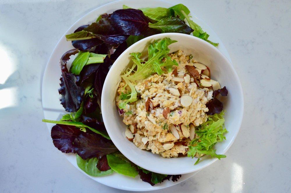 chickpea salad, salad, simple, organic, tarragon