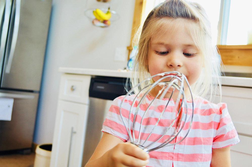 kids baking, modern homestead, minimalist homeschooling, girl power
