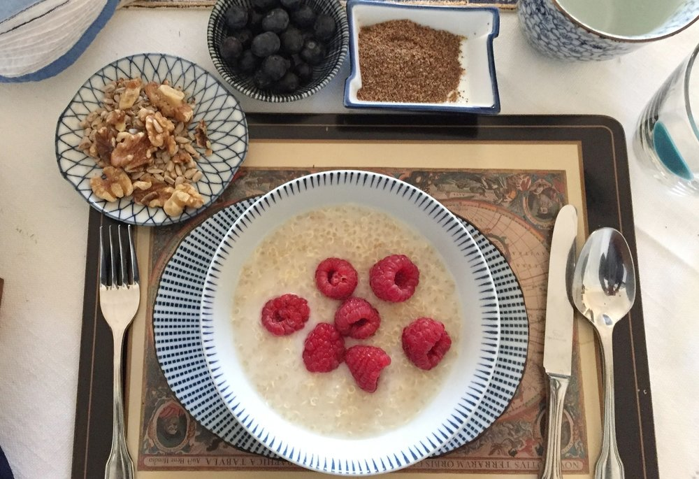 - Yield: 2 ServingsTime: 15 minutes plus Soaking and Cooking***1 cup Cooked Quinoa1 1/2 cup Non-Dairy MilkBerries Raspberries and Blueberries2 Tbsp. Ground Flaxseed2 Tbsp. Sunflower SeedsCinnamon powderHoneySimmer the quinoa in the non-dairy milk for about 8-10 minutes, so it is not runny. Divide into two bowls and garnish with the other ingredients.You may need to add a bit more water or almond milk. Turn off the heat under the oats. Garnish with a swish of honey and enjoy.*** Soaking the quinoa overnight or at least 4 hours helps in reducing the Phytic acid that binds grains. Phytic acid hinders the enzymes we need for digestion. Cook the quinoa in a rice cooker. Keep for later use.
