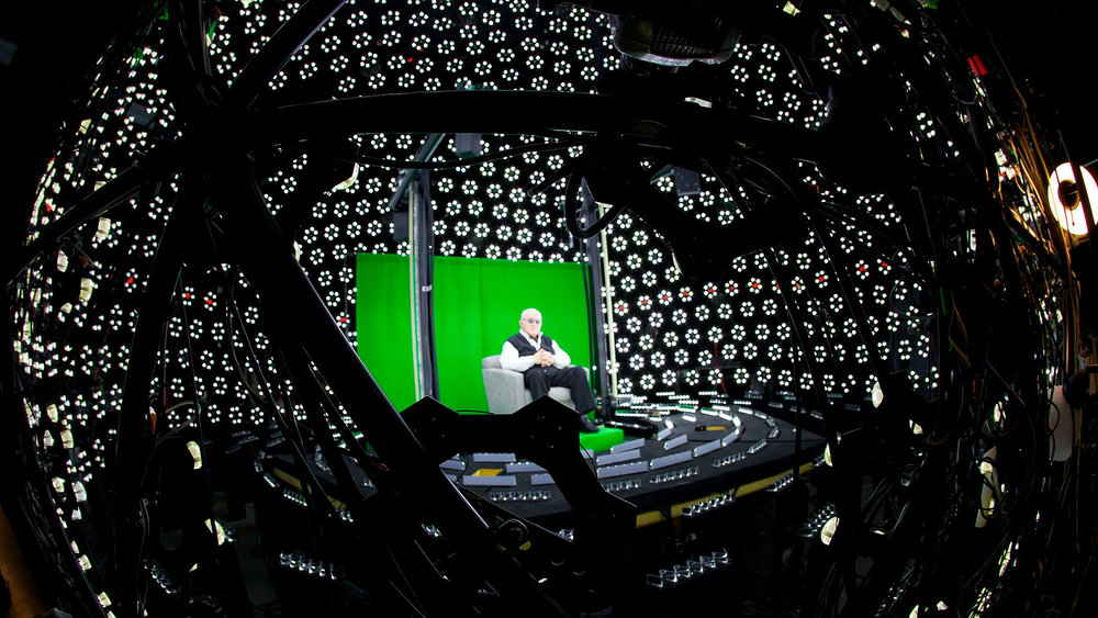A holocaust survivor is seen here surrounded by some of the highest quality cameras available, shot in 360 degrees. The films were then translated into 4D files to produce the interactive holograms found at the Illinois Holocaust Museum & Education Center.