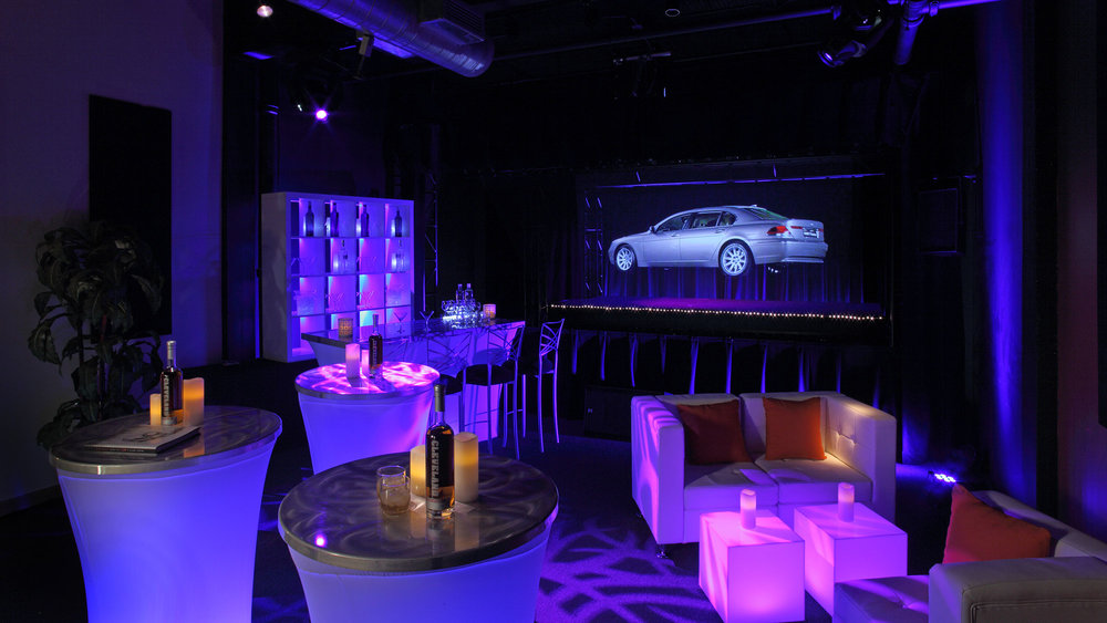 Here, the holographic theater was transformed into a lounge for a product launch.