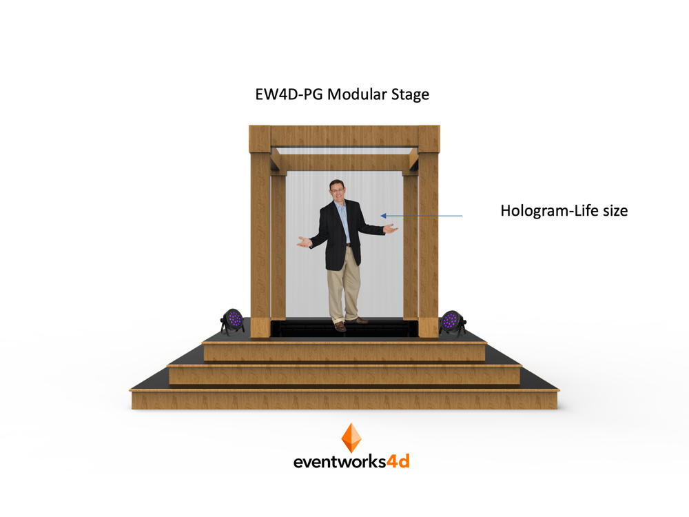Offering the same holographic projection experience as our large PG (Pepper's Ghost) format, but on a smaller scale. Our modular PG-Stage is a proprietary design and protected by copyright