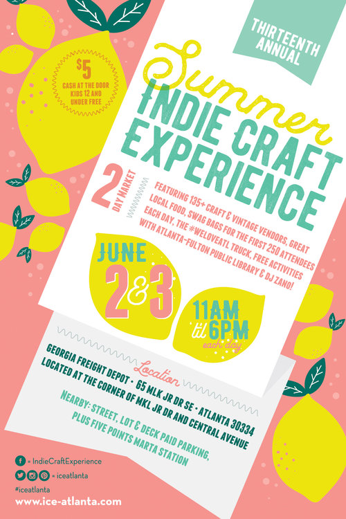 2018 Indie Craft Experience - Date: Saturday, June 2 - Sunday, June 3Time: 11-6 p.m. both daysCost: $5 cash at the door, kids 12 & under freeLocation: Georgia Freight Depot65 Martin Luther King Jr.Drive SEAtlanta, GA 30334Getting There: There is ample paid parking within blocks of the Freight Depot, including decks and street parking. The GA Freight Depot is also located in between the Five Points MARTA station and the Georgia State MARTA station.