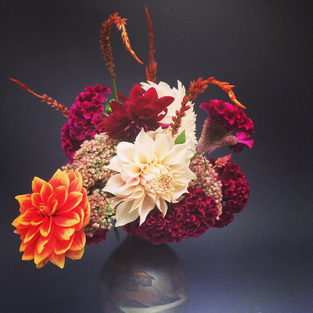 dahlias, sedum and celosia in a vintage Japanese vase