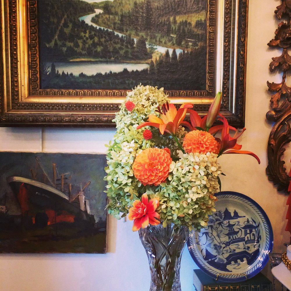 tall arrangement on mantle