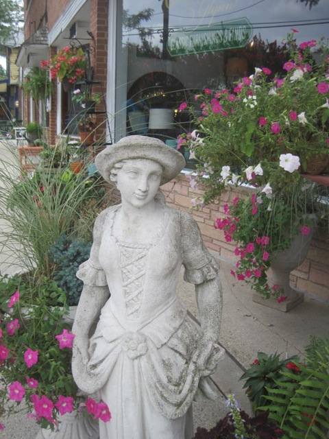 containers planted outside Goldsborough Glynn Antiques in Kensington MD
