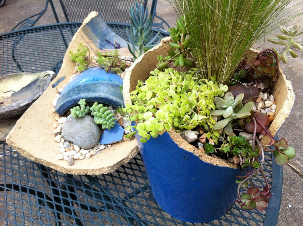 broken pots work as containers too!