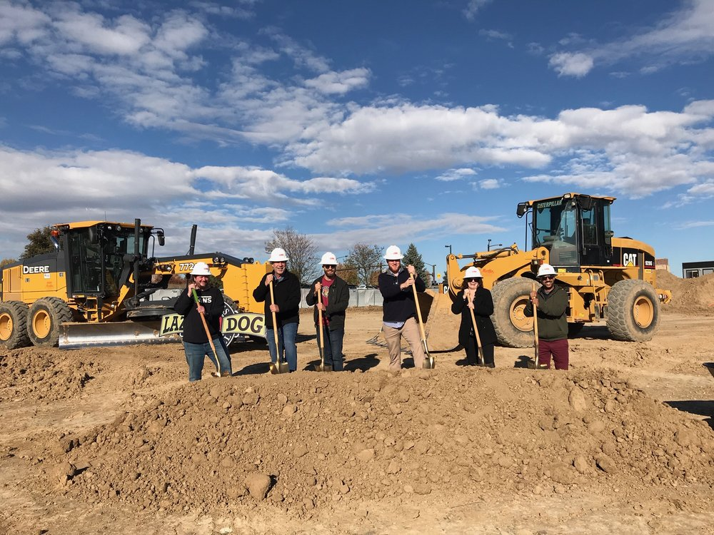 Ground Breaking Ceremony Lazy Dog Johnstown October 17th 2018   Pictured: Bill Cassel (LD Regional Chef), Steve Ross (Owner Lazy Dog), Max McKay (LD Regional Manager), Christian Remmo (LD Erie GM), Halie Baker (LD Boulder GM), and Blas McGee (LD Boulder AGM)