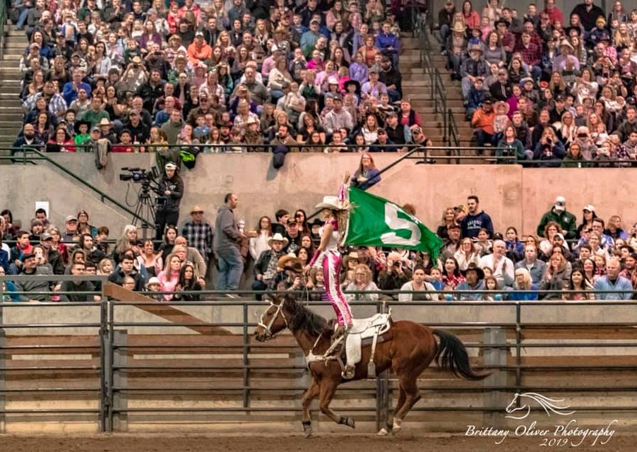 Chelsea Fisher Trick riding, hippodrome, at the Spartan Stampede Rodeo