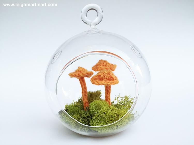 orange mushroom terrarium