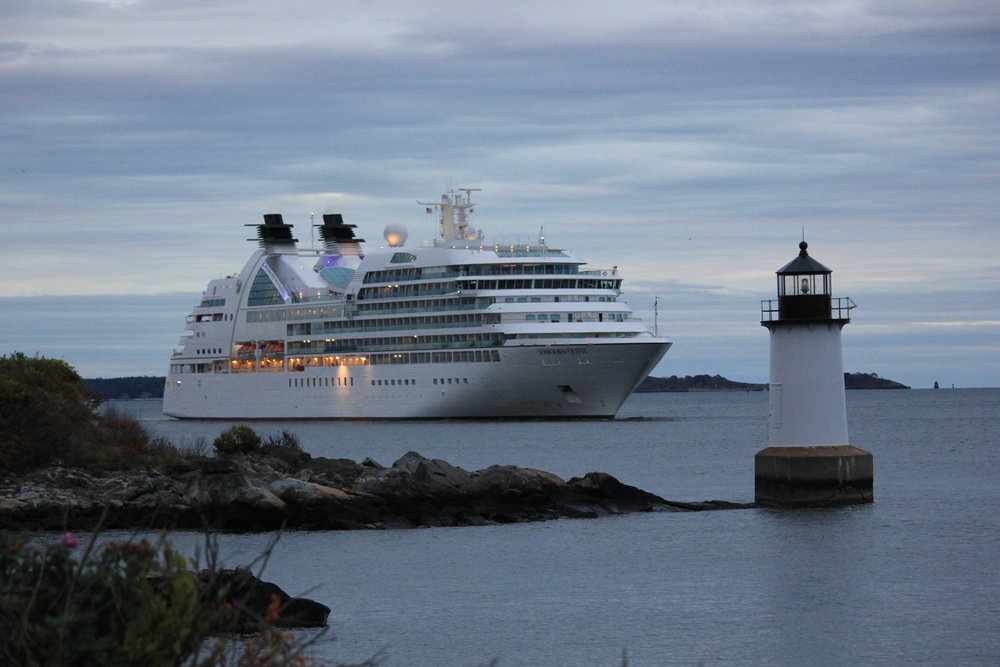 Cruise ship passing Winter Island Lighthouse on way to dock at Salem Wharf.