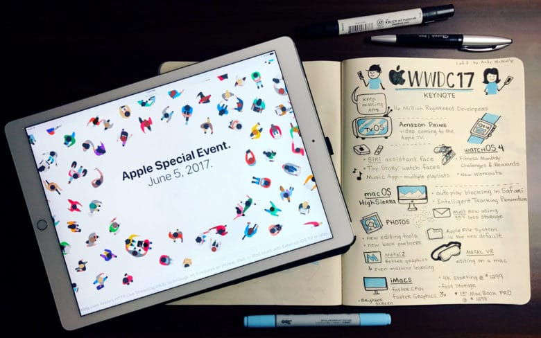 Andy McNally's Sketchnotes from WWDC 2017.