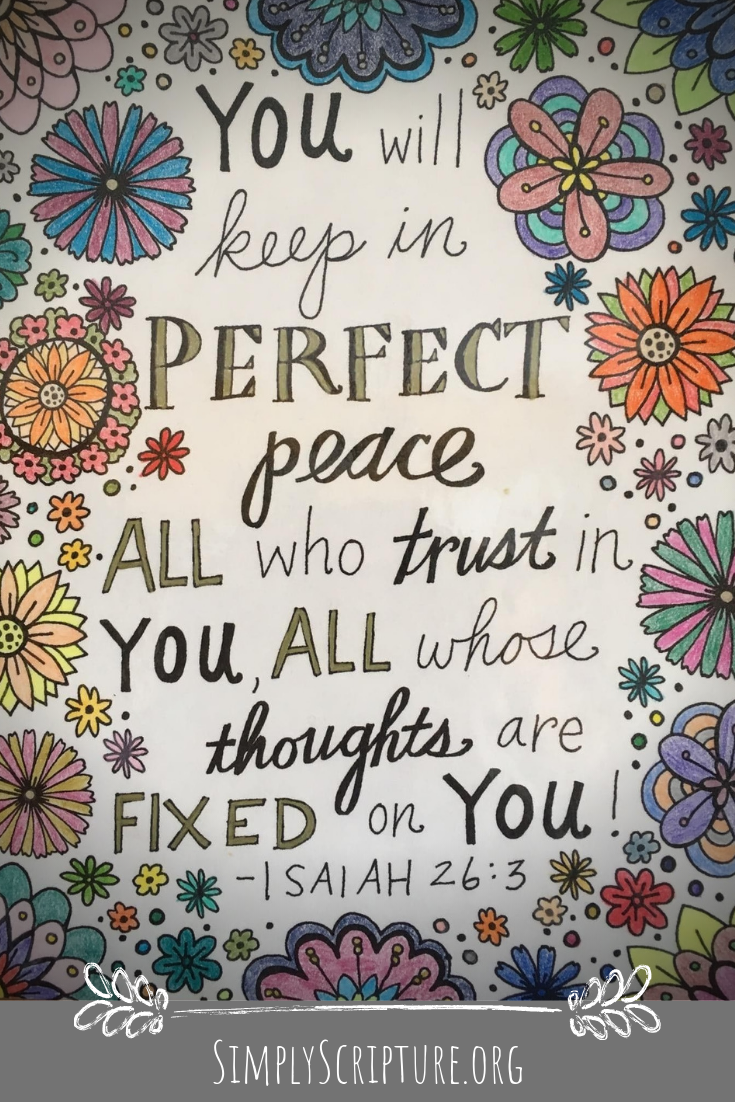 The world pulls my mind in a million trivial directions and they are all aimed at taking my heart away from my First Love. Lord, Your Word says you will keep me in perfect peace when I trust in You. Today help me to fix my thoughts on You alone. Simply Scripture