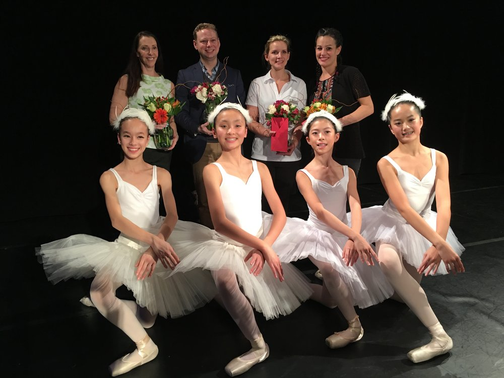 Back row, L-R: BCXIV Executive Director Donna Pidel, BCXIV Artistic Director Hans Nelson, Faculty Members Lauren Hawkes and Jennifer Boothe.  Front row, L-R:  BCXIV Elite dancers Sophia Vecerek, Alyssa Ma, Morgan Bao, ivy Chen.