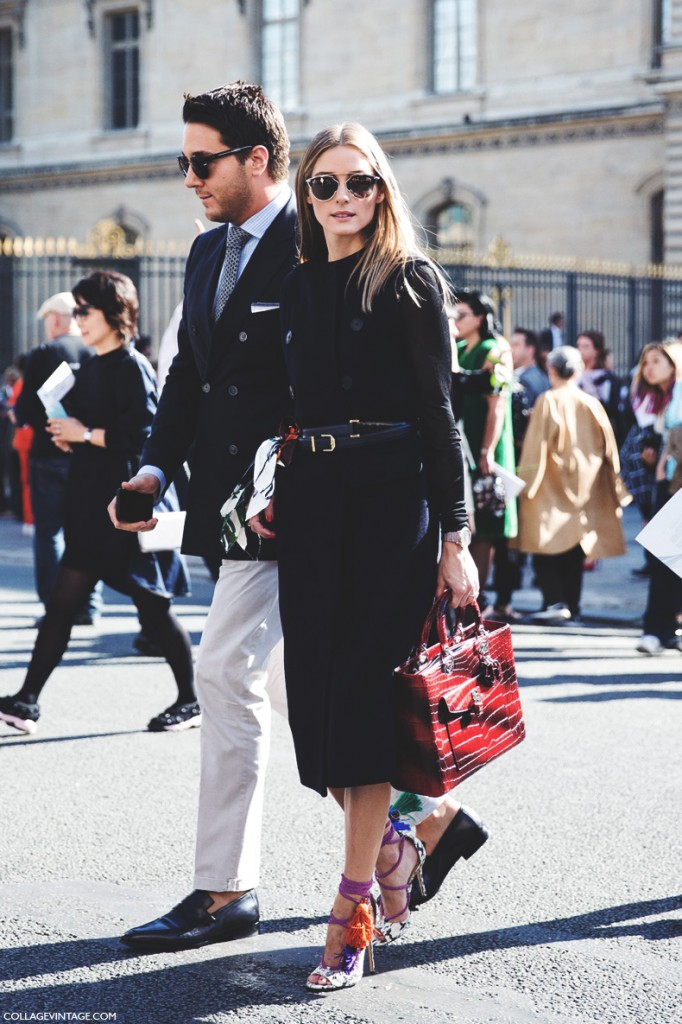 Paris_Fashion_Week_Spring_Summer_15-PFW-Street_Style-Olivia_Palermo-Dior-Lace_Up_Heels-Belted_Dress-Black-3