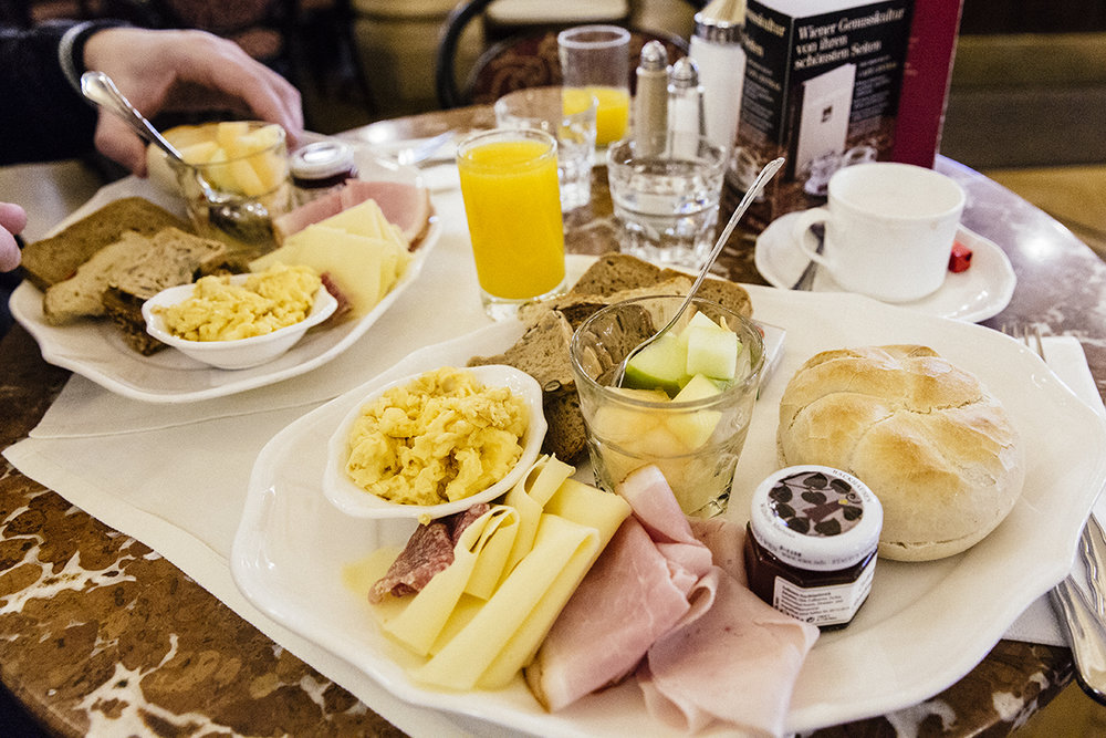 Continental breakfast at Cafe Central