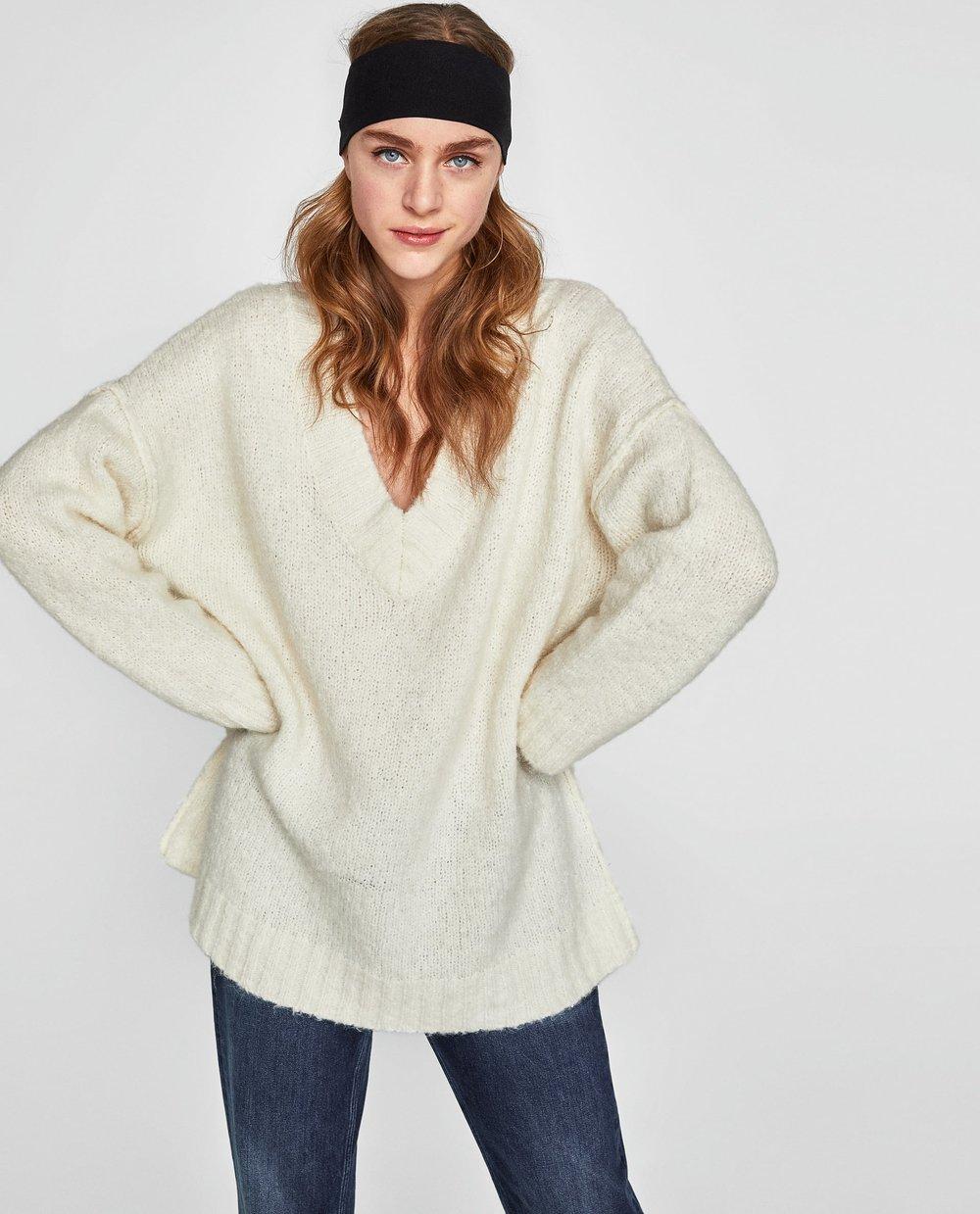 ZARA Oversized sweater with seam detail $59.95