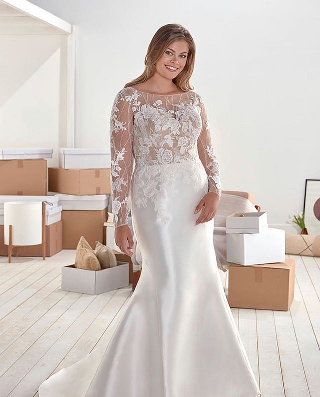 """This @whiteonebridal gown by Pronovias is now available at both locations! 😍 We love the unique lace pattern throughout the top (& sleeves!) plus a fitted skirt! ✨ Style name is """"Ola"""" 👌"""
