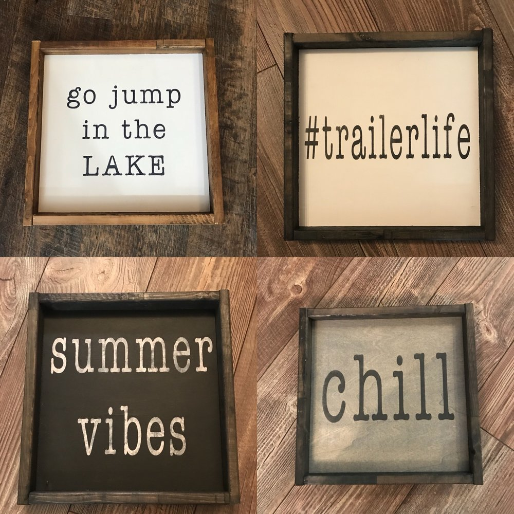 12x12 Signs Painted/Stencilled & Framed  $35 - pick your colours