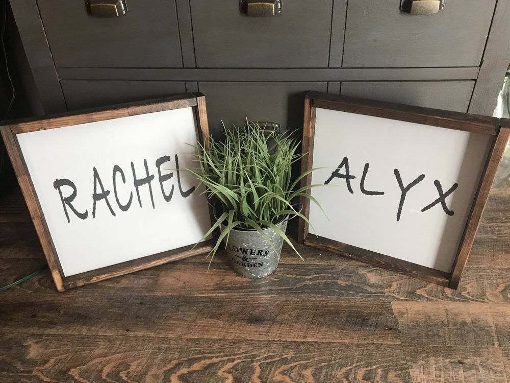 Custom Name Signs - choose your colour and style  $35 each or two for $55