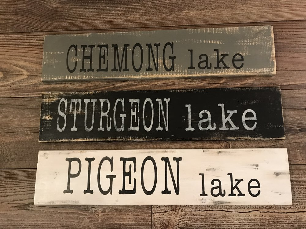 CUSTOM LAKE SIGNS! 24X6  WE CAN MAKE ANY LAKE YOU WOULD LIKE!  SEALED WITH 3 COATS OF UV/WEATHER PROTECTOR  INTRO PRICE OF $25