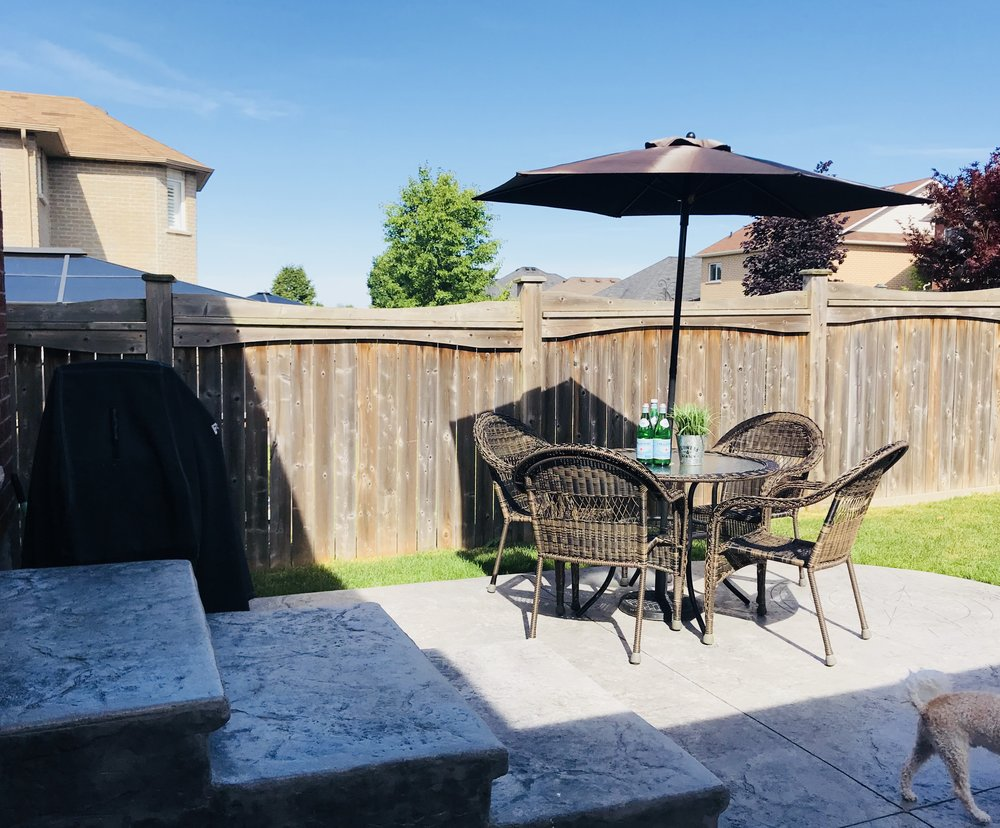 Here's a better shot of the chunky steps we love.  The table and chairs came from  Lowe's , they are the perfect size and a close match to our other outdoor furniture,