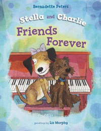 """Stella and Charlie, Friends Forever   by Bernadette Peters  In this companion title to Peters' New York Times  bestsellers  Broadway Barks and  Stella Is a Star , the beloved canine heroine Stella finds herself alone. Her """"mom"""" (who looks a lot like Bernadette Peters) goes on a journey to bring a shelter dog named Charlie to live with them. After a car ride with stops in Oklahoma and St. Louis, Charlie arrives in what Stella thinks of as  her  territory! At first, Stella is jealous of all the attention Charlie gets. But when she's hurt and needs a friend, Charlie shows her that he can be just that. In the end, Stella dances and Charlie yodels while Mom plays piano and sings."""
