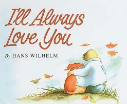 "I'll Always Love You   by Hans Wilhelm  In this gentle, moving story, Elfie, a dachshund, and her special boy progress happily through life together. When she is young, Elfie is full of pep and pranks; but as her master grows taller and taller, Elfie grows fatter and slower. One morning Elfie does not wake up. The family grieves and buries her, and the boy refuses a new puppy. He is not yet ready for another pet; but when he is, he will tell that one, as he told Elfie every night, ""I'll always love you."" The watercolor illustrations, tender and warm in color and mood and cozily rounded in form, suit the simple text perfectly. Elfie's gradual change from a lively mischief-maker to a portly old dog is treated with a sweet humor. Anyone who has or ever had an old dog in the family will be especially touched by this book."