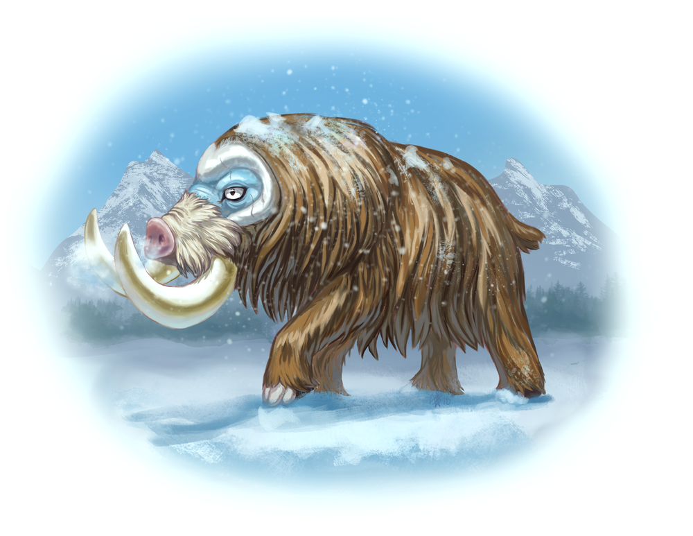 Pokemon #473 - Mamoswine, the Twin Tusk Pokémon and the evolved form of  Piloswine . Distinguished by its large tusks, its weight is more than five times that of Piloswine, and is less commonly found since the end of the  ice age .  (Artwork by     Valeria Pellicer    )