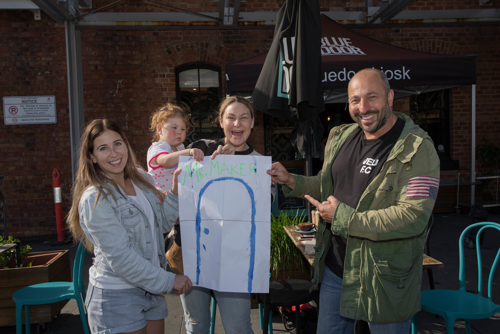 PJ and from Blue Door Cafe and Mel Sargeant and Summer (unhappy because she wants to draw)  Photo Credit Kailin Pasin One Stop Productions