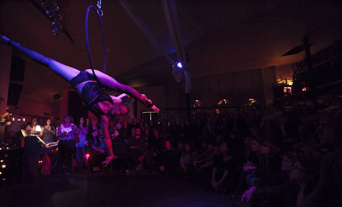 Image: Aerialist Leilisha Marning performing in 2012 to 'Hymn of Beauty' for Melbourne Fringe Festival, September 2012.