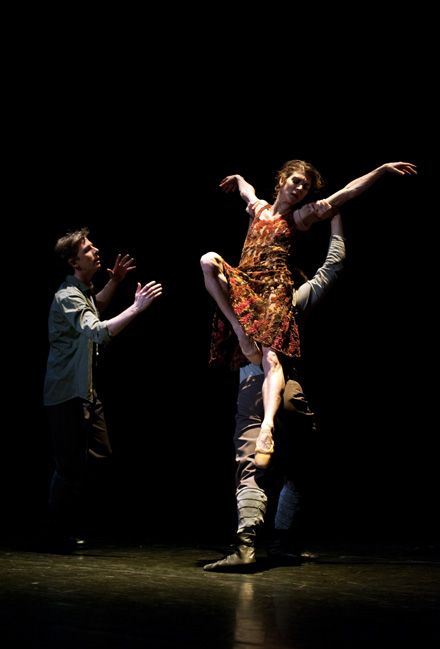 Image: Alistair Shelton-Smith (baritone), Nadia Yanowsky (dancer) & Casey Herd (dancer) performing at the premiere of 'Magdalene' presented by The Dutch National Ballet at The Muziektheater in Amsterdam, March 2011.