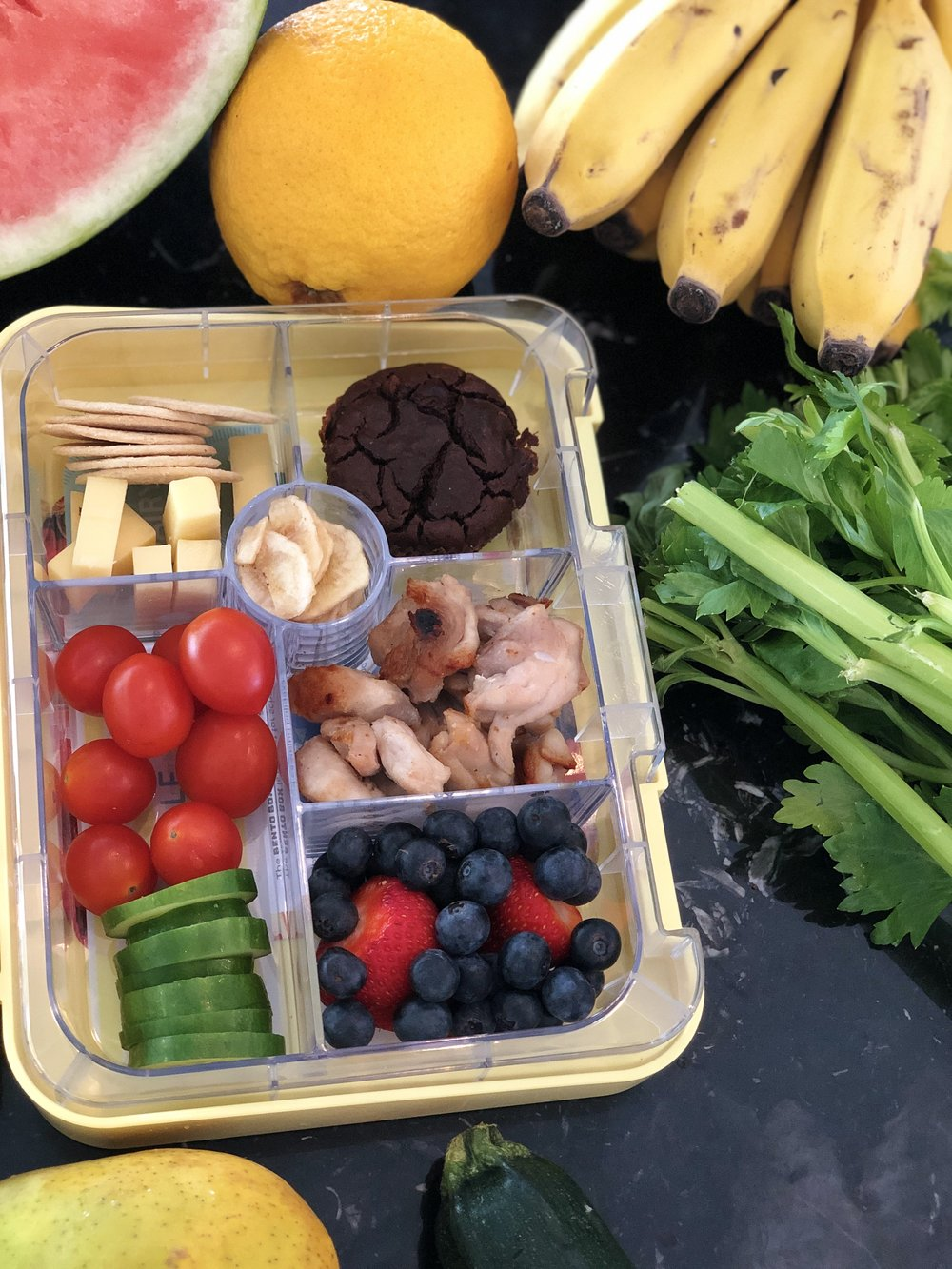 MONDAY - Dairy: Cheese and crackersVege: Cherry Tomatoes and CucumberFruit: BerriesProtein: Grilled Chicken BreastGrain: Carrot and Cinnamon Muffins from the Wholesome ChildTreat: Preservative free Banana chips