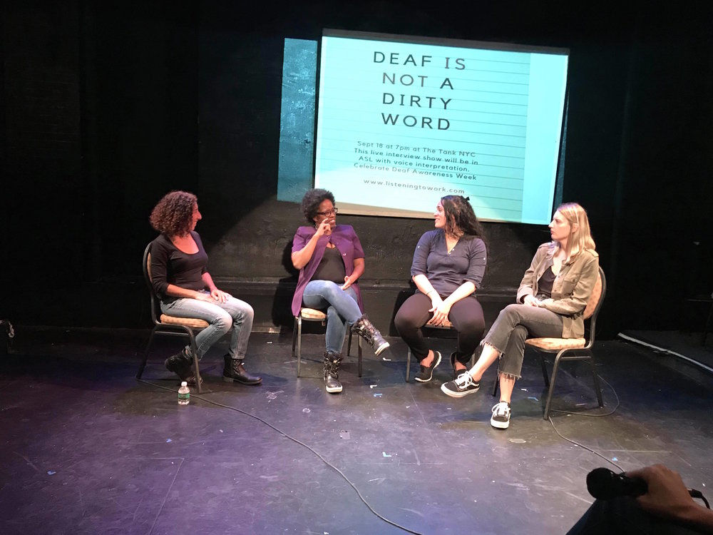 Show #5: Deaf is Not a Dirty Word - 9/18/18 Andria Alefhi interviews Miss Marsellette (dominatrix), Em Torres (vocational rehab counselor) and Brie Montoya (internet start-up customer rep) discuss the additional dynamics of being Deaf at work in ASL.