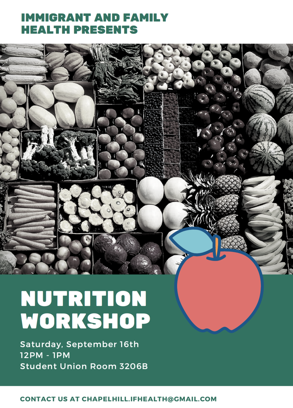 Our first Nutrition Workshop! - We, at I.F. Health, are excited to kick-start our monthly health workshops in the North Carolina Chapel Hill area.Thanks to all those who volunteered, organized, and donated to make these community health workshops happen. We could not have done it without your support!On September 16th, 2017 at the Carolina Union Room 3206B, I.F. Health will be hosting a Nutrition Workshop from 12PM to 1PM.Come join us to learn about nutrition and how you can make your life healthier by eating healthier foods.This event is entirely free! Thanks and see you all there!
