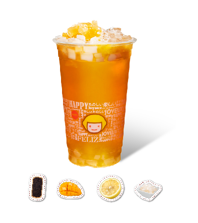 Mango & Orange Flavor Black Tea with QQ Jelly