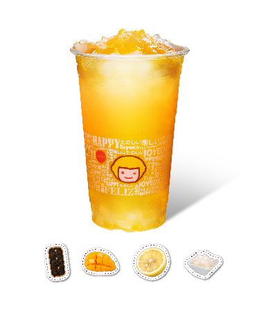 Mango & Orange Flavor Green Tea with QQ Jelly