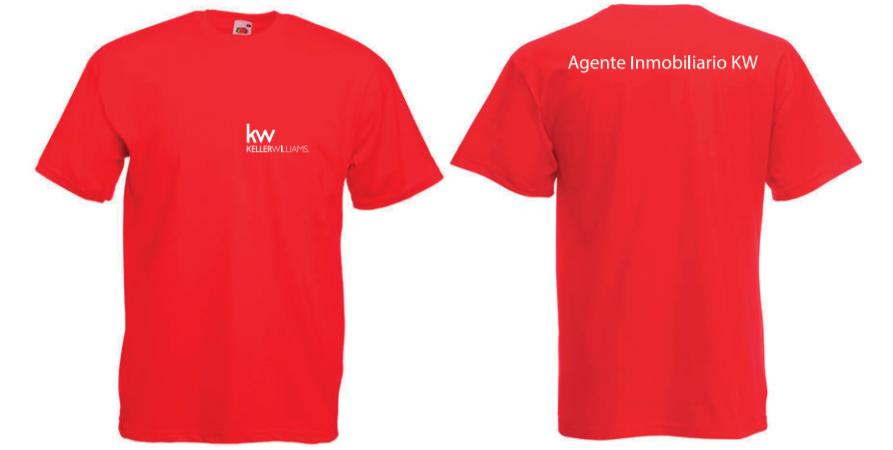 """Camisetas Rojas """"Agente Inmobiliario"""" en tallas S, M, L y XL, para hombres y mujeres"""