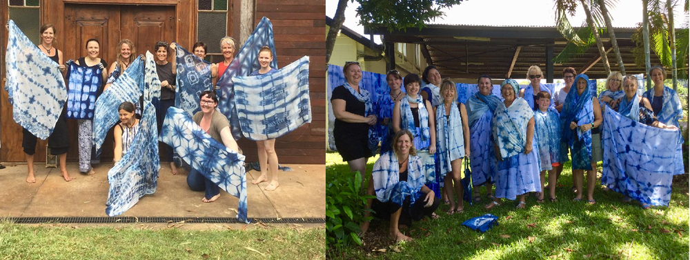 Women showing off their creations at   Indigo Shibori Workshop s by Nina