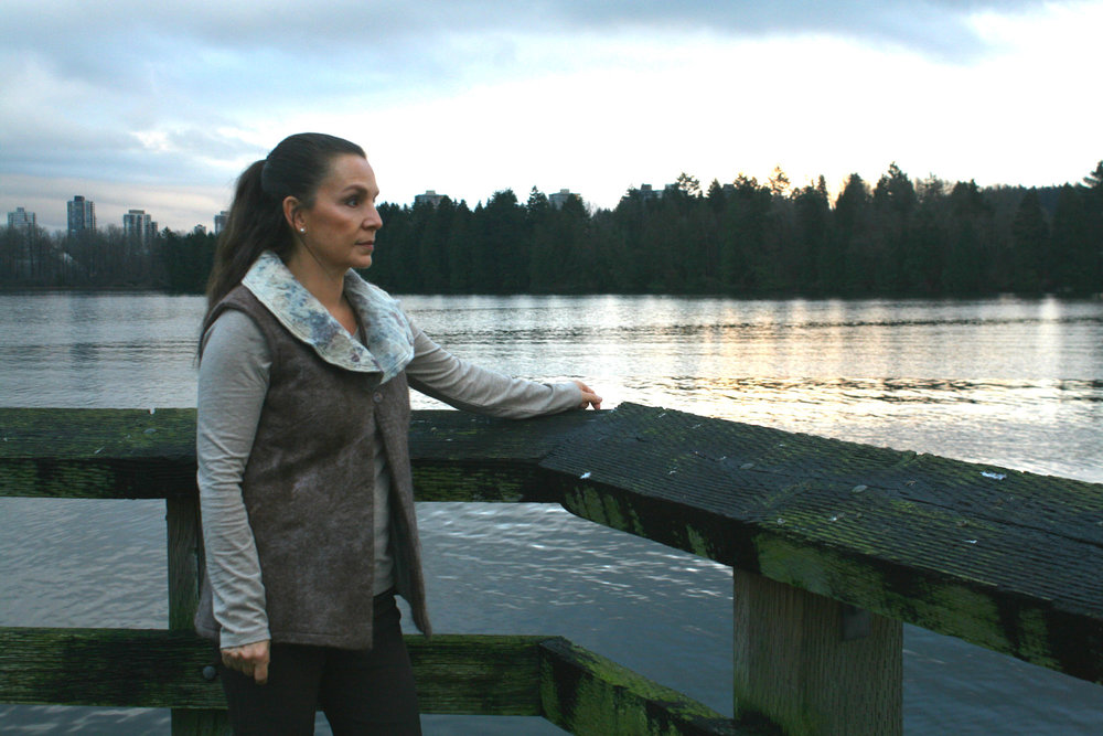 Robbin wearing Green Embassy near her home in British Columbia, Canada. This area (Burrard Inlet) could see a 700% increase in tanker traffic if the Kinder Morgan pipeline twinning moves ahead.