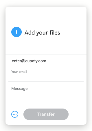 The WeTransfer panel for sending images to CUPOTY