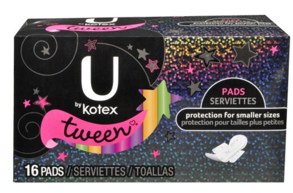 Kotex Pads for Tweens