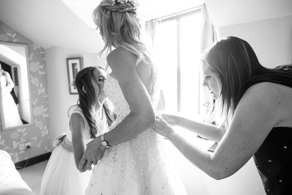 Wedding dress bridesmaid preparation