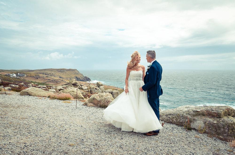 couple wedding coast Lands End Cornwall